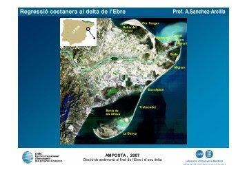 Regressió costanera al delta de l'Ebre Prof. A.Sanchez-Arcilla