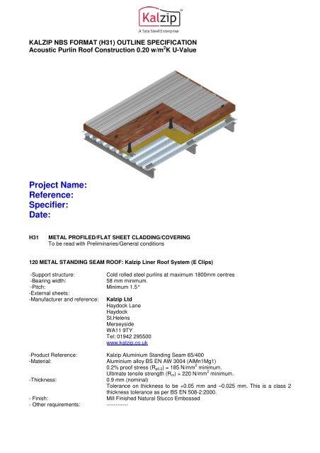 Acoustic Purlin Roof Construction 0 20 W/m2K U-value - Kalzip