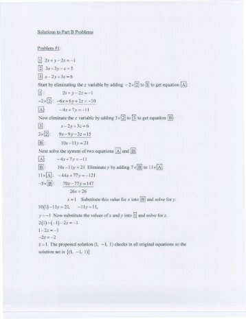 Solutions to Part B Problems Problem #1 :