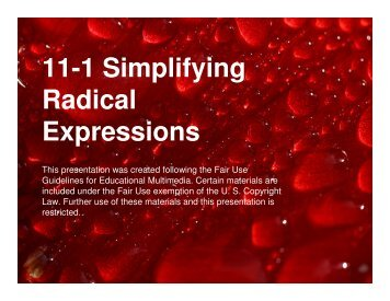Microsoft PowerPoint – Algebra 11-1 Simplifying Rational Expressions