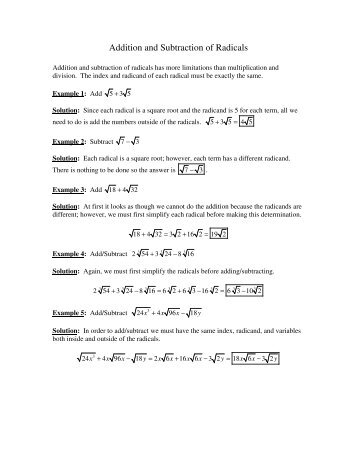 adding and subtracting radicals with variables pdf
