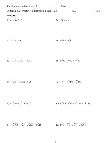 Multiplying And Dividing Radical Expressions Worksheet Worksheets