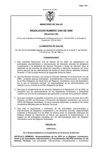 Resolución 3384 del 2000 - POS