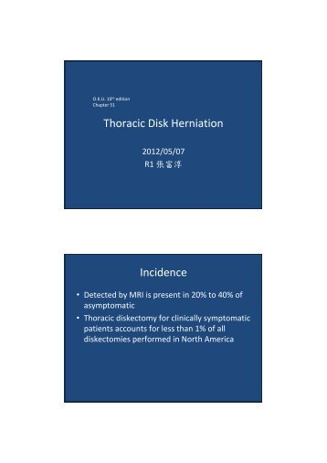 Thoracic Disk Herniation Incidence