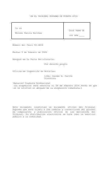 2006 TSPR 36 - Rama Judicial de Puerto Rico