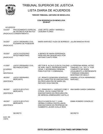 tribunal superior de justicia lista diaria de acuerdos - Poder Judicial ...