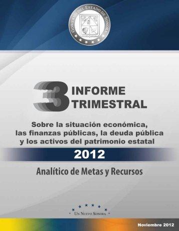 INFORME TRIMESTRAL - Gobierno del Estado de Sonora