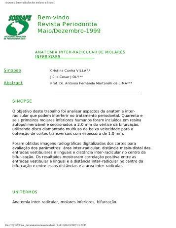 Anatomia inter-radicular dos molares inferiores - Revista Sobrape