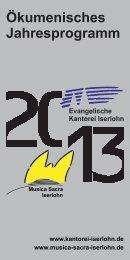 Jahresprogramm 2013 - Kantorei Iserlohn