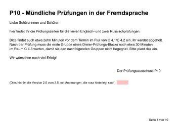 P10 - Mündliche Prüfungen in der Fremdsprache