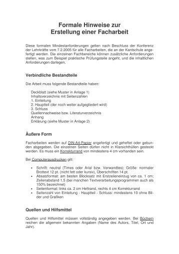 Formale Vorgaben Für Die Erstellung Der Facharbeit Goethe Schule