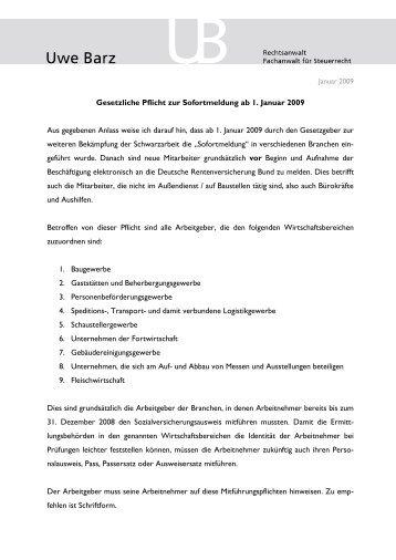 Gesetzliche Pflicht zur Sofortmeldung ab 1. Januar ... - Kanzlei Barz