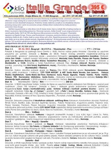 program i cenovnik putovanja - Klio putovanja