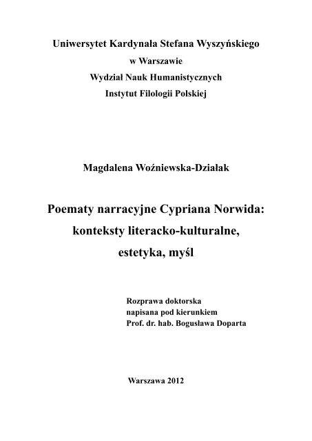 Rozdział I Uniwersytet Kardynała Stefana Wyszyńskiego
