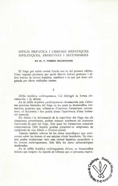 Sífilis hepàtica i cirrosis hepàtiques sifilítiques, primitives i secundàries