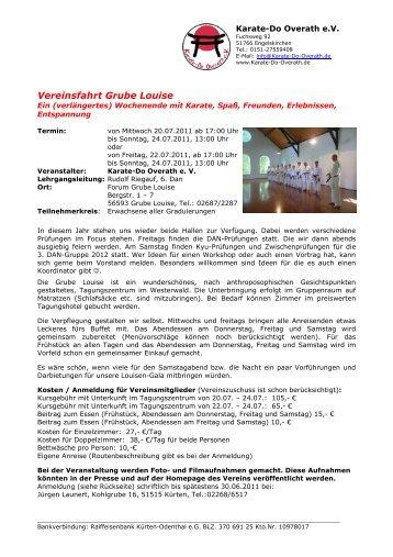 Grube Louise 2011 Ausschreibung - Karate-Do Overath e.V.