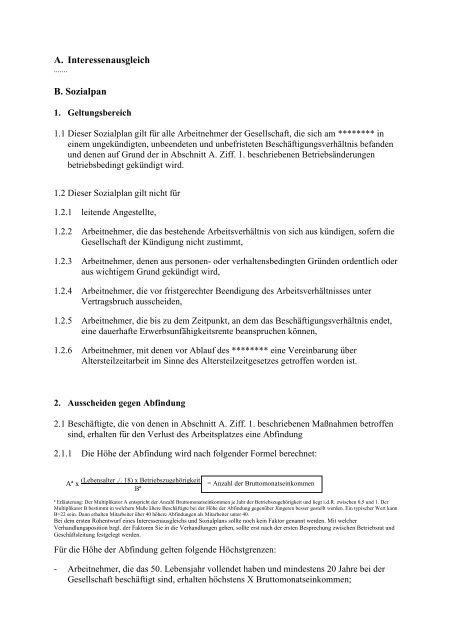 Muster Sozialplan Transfergesellschaftpdf Karent