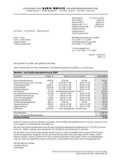 Muster Betriebskostenabrechung Karin Breuer