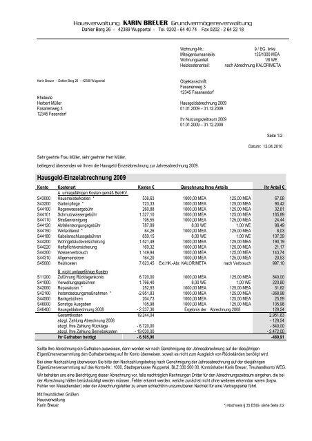 Muster Hausgeld Einzelabrechnung Karin Breuer