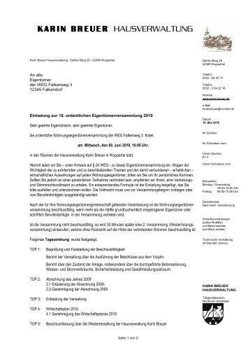 Einladung Eigentumerversammlung Thegirlsroom Co