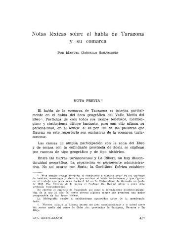 Notas léxicas sobre el habla de Tarazona y su comarca - Institución ...