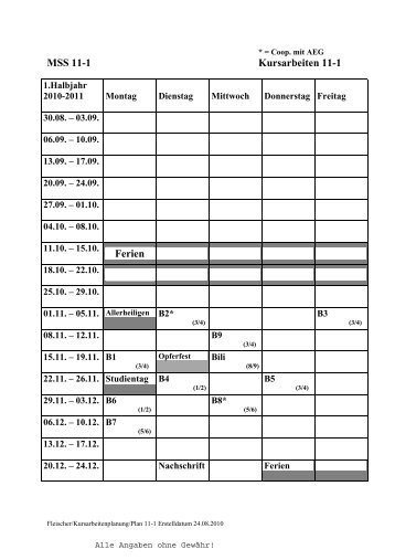 MSS 11-1 Kursarbeiten 11-1 Ferien - Karolinen-Gymnasium ...