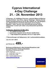 Ausschreibung Cyprus Challenge 2013 - Karstadt Reisen