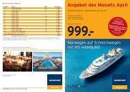 999.- Angebot des Monats April - Karstadt Reisen