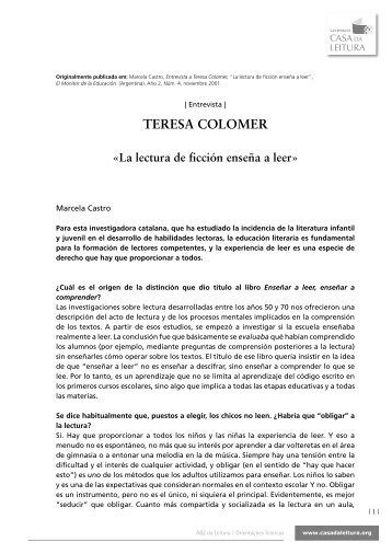 TERESA COLOMER «La lectura de ficción enseña a leer
