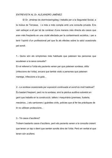ENTREVISTA AL Dr. ALEJANDRO JIMÉNEZ: El Dr. Jiménez és ...