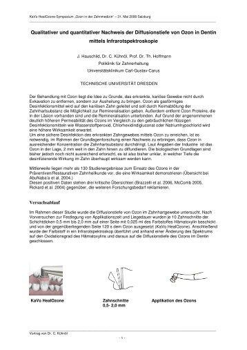 Qualitativer und quantitativer Nachweis der Diffusionstiefe von Ozon ...