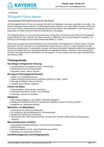 Erfolgreich Führen intensiv - KAYENTA Training und Beratung