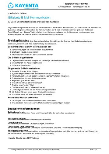 Effiziente E-Mail Kommunikation - KAYENTA Training und Beratung