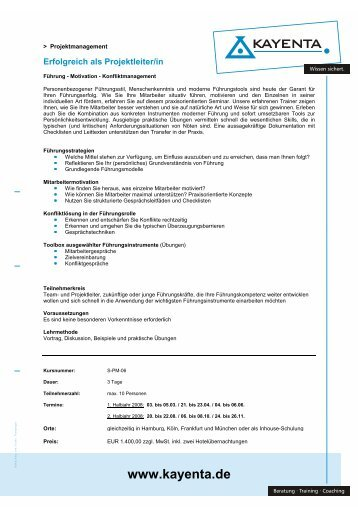 Anmeldung zum Seminar - KAYENTA Training und Beratung