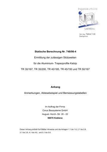 Zulässige Stützweiten für Corus Trapezprofile , Stand 17.01 ... - Kalzip