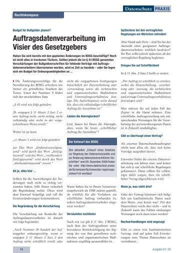 Vereinbarung Zur Auftragsdatenverarbeitung Nach 11 Bdsg
