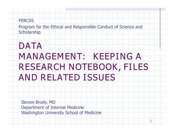 DATA MANAGEMENT: KEEPING A RESEARCH NOTEBOOK, FILES AND RELATED ISSUES