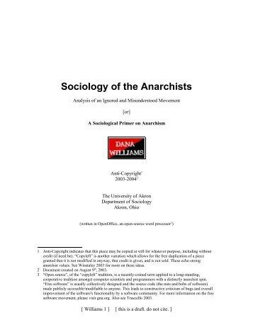 Sociology of the Anarchists - Gozips.uakron.edu - The University of ...