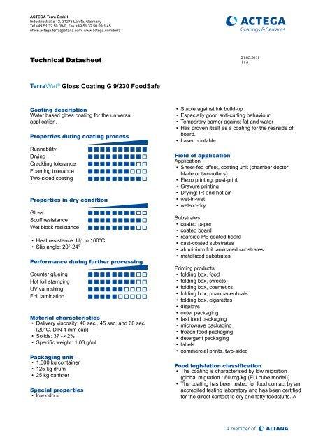 TERRAWET Gloss Coating G 9/230 Foodsafe - Actega