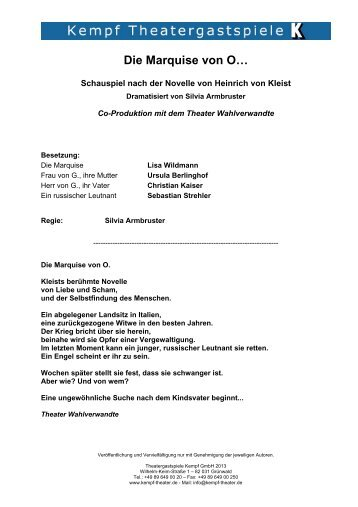Die Marquise von O… - Theatergastspiele Kempf GmbH