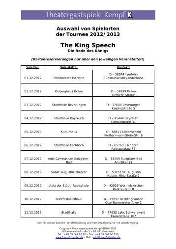 Spielorte: The King's Speech - Theatergastspiele Kempf GmbH