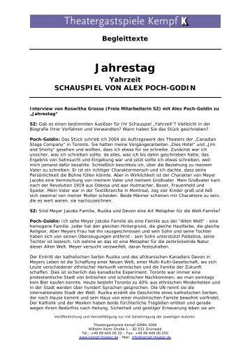 Jahrestag - Theatergastspiele Kempf GmbH