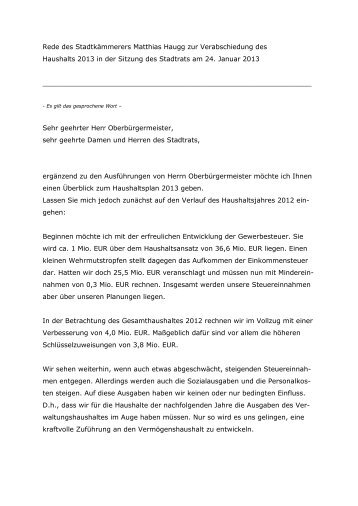 Haushaltsrede Kämmerer - Stadt Kempten
