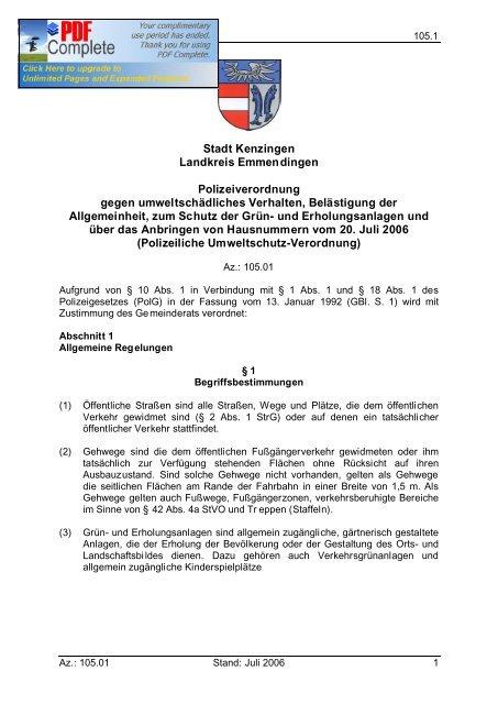 Stadt Kenzingen Landkreis Emmendingen Polizeiverordnung gegen ...