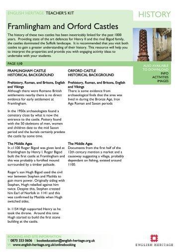 HISTORY Framlingham and Orford Castles