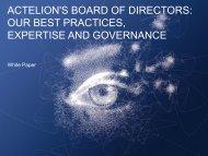 ACTELION'S BOARD OF DIRECTORS: OUR BEST PRACTICES ...