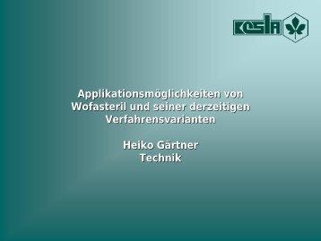 Applikationsmöglichkeiten von Wofasteril und seiner derzeitigen ...