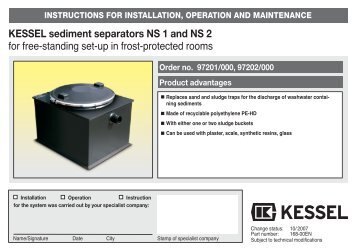 """KESSEL Grease separator """"PV†NS 2, 4, 7, 10 For installation in ..."""
