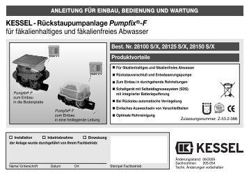 Rückstaupumpanlage Pumpfix®-F für fäkalienhaltiges und ...