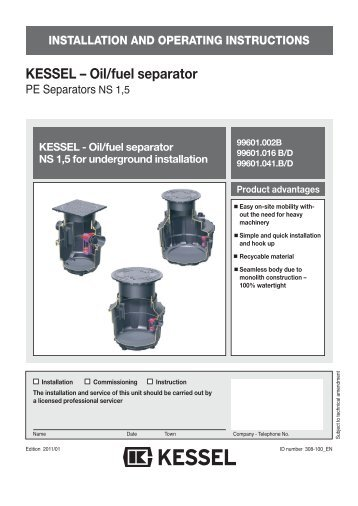 """KESSEL Grease separator """"M†NG 2, 4, 7 and 10 For installation in ..."""